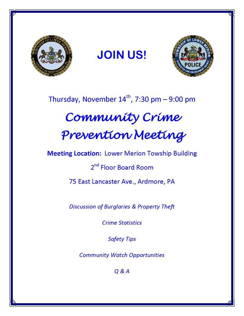 Crime Prevention Meeting Flyer 11-14-13