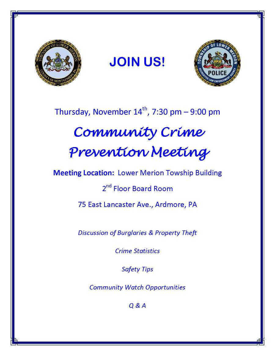 Crime Prevention Meeting Flyer 11-14-13